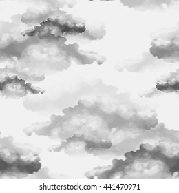 imprints clouds. seamless pattern. digital and watercolor mixed media hand drawn  artwork for textiles, fabrics, souvenirs, packaging, greeting cards, screen saver, scrapbooking.