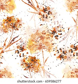 imprints dry flowers seamless pattern. abstract watercolor and digital hand drawn picture. mixed media artwork for textiles, fabrics, souvenirs, packaging and greeting cards.