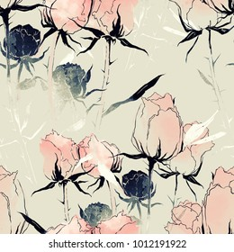 imprints fading flowers mix repeat seamless pattern. watercolor and digital hand drawn picture. mixed media artwork for textiles, fabrics, souvenirs, packaging and greeting cards.