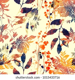 imprints flowers and leaves mix repeat seamless pattern. watercolor and digital hand drawn picture. mixed media vintage artwork