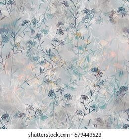 imprints herbarium - dry grass - seamless pattern. abstract watercolor and digital hand drawn picture. mixed media artwork for textiles, fabrics, souvenirs, packaging and greeting cards.