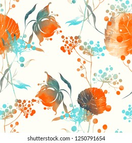 imprints herbs, flowers and leaves. abstract watercolour and digital image. hand drawn boho spring seamless pattern. mixed media artwork, endless motif for textile decor and design