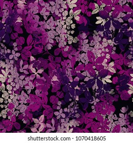 imprints lilac flowers mix repeat seamless pattern. watercolour and digital hand drawn picture. mixed media artwork. endless texture for textile decor and design