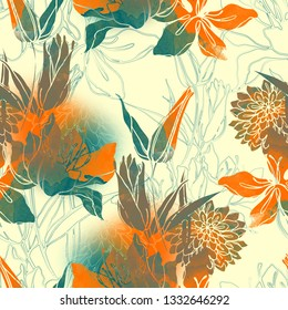 imprints lilies and chrysanthemums mix repeat seamless pattern. digital hand drawn picture with watercolour texture. mixed media artwork. endless motif for textile decor and botanical design