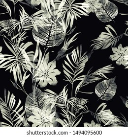 imprints monochrome black and white leaves and flowers mix repeat seamless pattern. digital hand drawn picture with watercolour texture. mixed media artwork. endless motif for textile decor