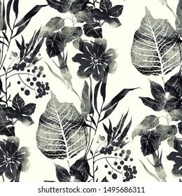 bedruckt einfarbige schwarz-weiße Blätter und Blumen mischen sich nahtlose Muster. digitales handgezeichnetes Bild mit Aquarellstruktur. gemischte Medienwerke. endloses Motiv für die Textildekoration