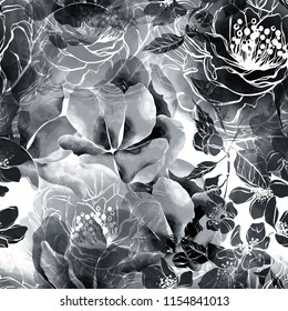 imprints monochrome flowers and leaves mix repeat seamless pattern. digital hand drawn picture with watercolour texture. mixed media artwork. endless motif for textile decor and design