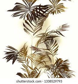 imprints palm leaves mix repeat seamless pattern. digital hand drawn picture with watercolour texture. mixed media artwork. endless motif for textile decor and botanical design