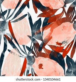 imprints protea flowers and leaves mix repeat seamless pattern. digital hand drawn picture with watercolour texture.  mixed media artwork. endless motif for textile decor and botanical design