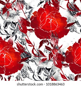 imprints roses mix repeat seamless pattern. watercolor and digital hand drawn picture. mixed media artwork