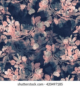 imprints sakura blossoms. hand drawn seamless pattern. digital drawing and watercolor texture. background for textile decor and design. botanical desktop backdrop, wallpaper. boho chic, mixed media.