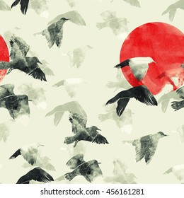 imprints Seagull the sky. Japanese graphic minimalism. hand painted seamless pattern. digital drawing and watercolor texture. background for textile decor and design. wallpaper. mixed media.