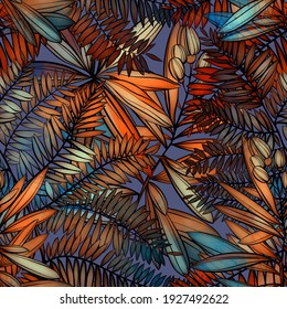 Imprints tropical leaves seamless pattern. Digital lines hand drawn picture with watercolour texture. Mixed media artwork. Endless motif for textile decor and natural design.