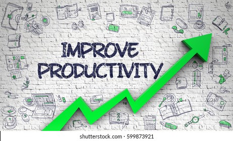 Improve Productivity Drawn on White Brickwall.