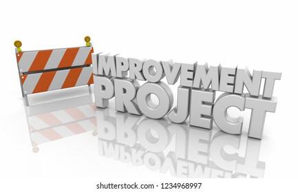 Improvement Project Road Barricade Sign 3d Illustration