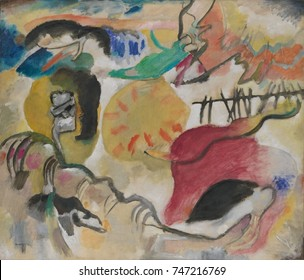 Improvisation 27 , by Vasily Kandinsky, 1912, Russian German Expressionist. This painting contains 3 very abstract depictions of an embracing couple surrounded by serpentine forms. The painting\x90s