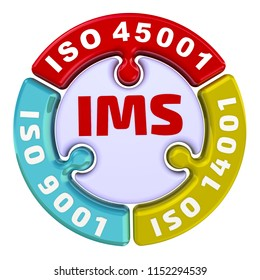 "IMS. ISO Integrated Management System. The check mark in the form of a puzzle. The inscription ""IMS. ISO 9001, ISO 14001, ISO 45001"" on the puzzle in the shape of a circle. 3D Illustration. Isolated"