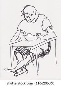 inatant sketch, boy has lunch