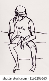 inatant sketch, boy talking on smartphone