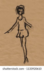 inatant sketch, girl is going to dance