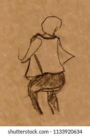 inatant sketch, girl posing in studio
