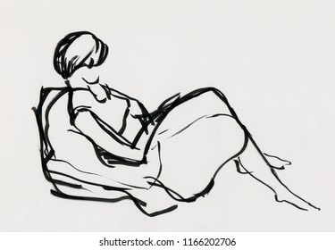 inatant sketch, girl resting on sofa