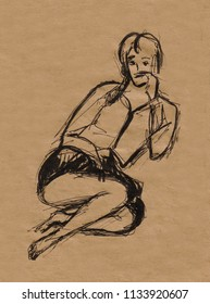 inatant sketch, girl sitting on floor