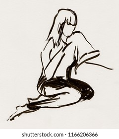 inatant sketch, girl sitting on chair