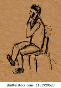 inatant sketch, girl with smart phone