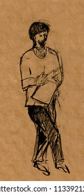 inatant sketch, man reading papers