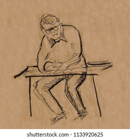 inatant sketch, man sitting on chair