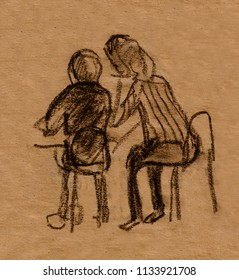 inatant sketch, people sitting on chairs