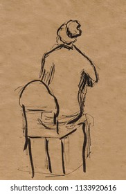 inatant sketch, woman sitting on chair
