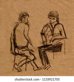 inatant sketch, women sitting on chair and talking