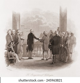 The Inauguration of Washington. Swearing in ceremony at New York's Federal Hall April 30 1789. 1860 engraving by John Rogers.