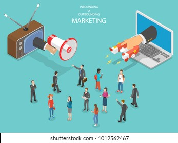 Inbound vs outbound marketing isometric . Hand with megaphone and another one with magnet are trying to capture the attention of the crowd of people.