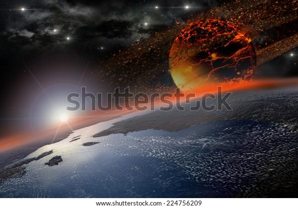 El cuerpo celestial incandescente se acerca y golpea la Tierra al amanecer