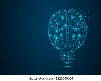 Incandescent lamp. Low poly, polygonal wireframe Raster image with scattered particles and light effects on a dark blue background. Idea with geometry triangle. Brain silhouette lamp bulb icon