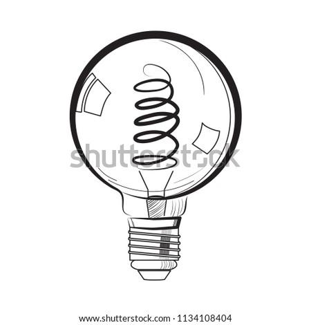 Incandescent Light Bulb Sketch Tungsten Bulb Stock Illustration
