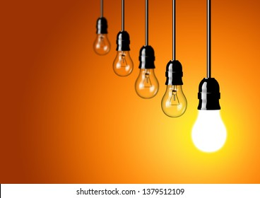 Incandescent light bulbs background for idea, innovation and motivation theme