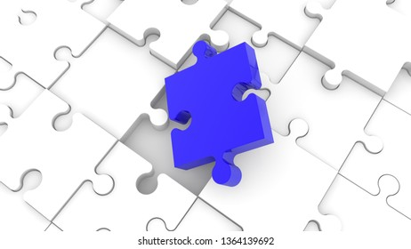 Inclined blue puzzle piece on white jigsaw puzzle.3d illustration
