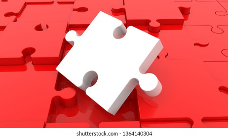 Inclined close up white puzzle piece on red jigsaw puzzle.3d illustration
