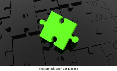 Inclined green puzzle piece on black jigsaw puzzle.3d illustration