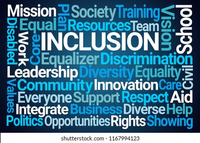 Inclusion Word Cloud on Blue Background