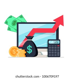 Income increase, financial performance analytics or long term investment and fund management. Revenue growth of interest rate dividends graph productivity report. Stock flat icon