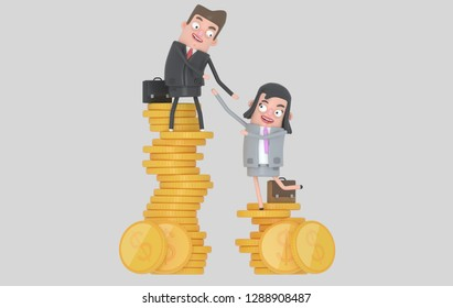 Income inequality concept. Man and woman climbing piles of coins. Isolated. 3D illustration
