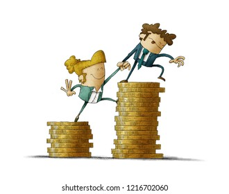 Income inequality concept shown with an illustration of a male and female characters and piles of coins. isolated