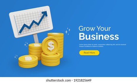 income salary dollar rate increase statistic. business profit growth margin revenue. Finance performance of return on investment ROI concept with arrow. cost sale icon cartoon 3d render illustration