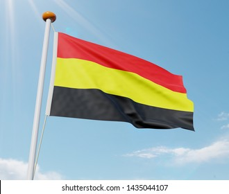 Incorrect Belgian country flag with horizontal stripes (Belgium flag from 1830). Flag on pole is waving in the wind on a sunny day. 3D illustration
