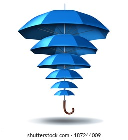 Increased business protection security concept as a blue umbrella metaphor changing in size from small to big protecting smaller umbrellas connected together in a network to protect team members.